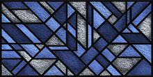 Sketch Of A Grey Blue Stained Glass Window. Art Deco. Abstract Stained-glass Background. Grey And Blue Colors. Modern Stained Glass. Monochrome. Vintage. Design Luxury Interior. Decor.