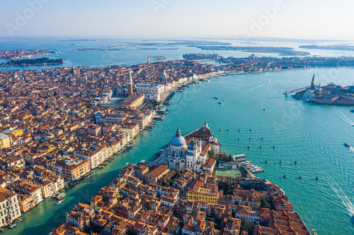 View of the Grand Canal, Basilica Santa Maria della Salute and San Marco Square, Venice, Italy - fototapety na wymiar