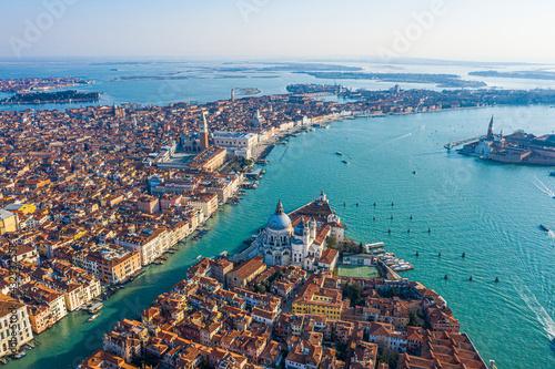 Fotografie, Obraz View of the Grand Canal, Basilica Santa Maria della Salute and San Marco Square,