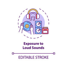 Exposure To Loud Sounds Concept Icon. Acquired Hearing Loss Idea Thin Line Illustration. Ringing In Ears. Permanent, Temporary Tinnitus. Vector Isolated Outline RGB Color Drawing. Editable Stroke