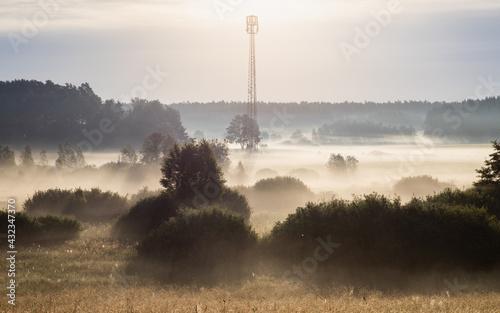Fototapeta wieża przekaźnikowa na Mazurach