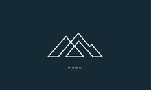 A Line Art Icon Logo Of A Mountain