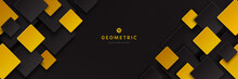 Modern Black And Yellow Golden Color Square Overlap Pattern On Dark Background With Shadow. Abstract Trendy Color Geometric Shape With Copy Space. Futuristic And Technology Concept. Vector EPS10.