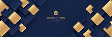 Modern Dark Blue And Golden Color Square Overlap Pattern On Dark Background With Shadow. Abstract Trendy Color Geometric Shape With Copy Space. Luxury And Elegant Concept. Vector EPS10.