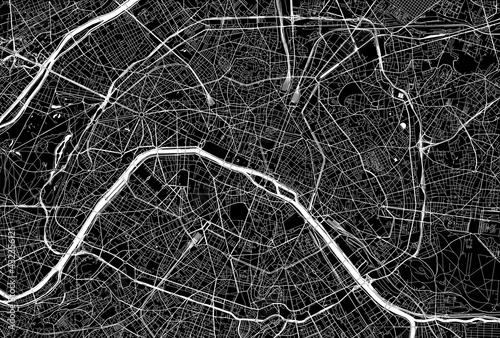 Foto Dark area map of Paris, France