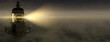 Leinwandbild Motiv Panoramic lighthouse with its light beam shining through thick fog 3d render