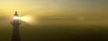 Panoramic Lighthouse With Its Light Beam Shining Through Thick Fog 3d Render