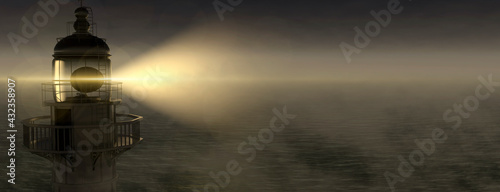 Fototapeta Panoramic lighthouse with its light beam shining through thick fog 3d render obraz