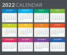 2022 Calendar - Vector Illustration. Sunday To Monday