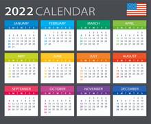 2022 Calendar - Vector Stock Illustration. English American Version