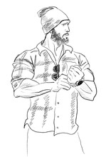 Hand-drawn Fashion Illustration Of Imaginary Male Model Figure In A Checkered Shirt, Jeans, And Hat. Color Book Page. Posing Reference. Black White Man Sketch. Comic Book Art. Romance Novel Character