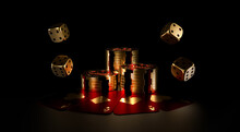 Casino Chips, Dice And Playing Cards On A Dark Background. A Stack Of Casino Chips. Online Casino. 3d Rendering.
