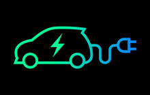 Electric Car With Plug Green Icon Symbol, EV Car Hybrid Vehicles Charging Point Logotype, Eco Friendly Vehicle Concept, Isolated On Black Background, Vector Illustration