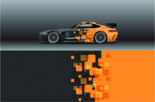 Abstract Race Car Wrap Sticker Design And Sports Background For Daily Use Racing Livery Or Car Vinyl Stickers