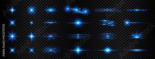 Obraz na płótnie sparkle blue transparent light effect lens flare background