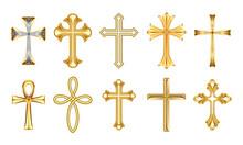 Christian Religious Decorative Golden Crosses Set. Realistic Vector Illustration Isolated On White Bakcground