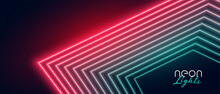 Red And Green Neon Light Lines Background