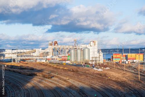 Obraz na plátně Rail lines and the port of Halifax, Nova Scotia