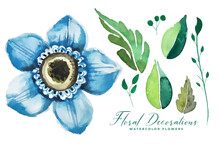 Watercolor Blue Flower And Leaves Decoration Pack