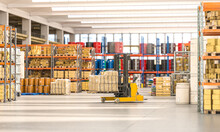 Forklift Truck That Transports Packages Inside A Factory.