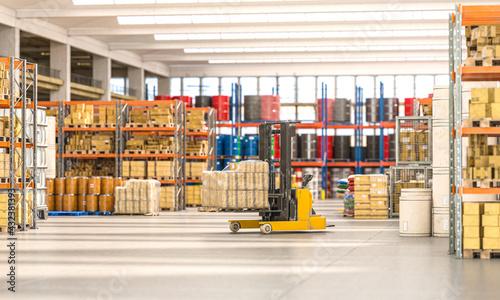 Fototapeta forklift truck that transports packages inside a factory. obraz