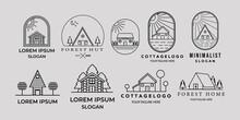 Set Of Cottage Or House Line Art Minimalist Simple Vector Logo Icon Illustration Design