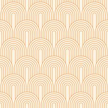 Vector Seamless Pattern. Bohemian Geometric Background. Orange Circular Lines. Texture For Print, Textile. Line Art.