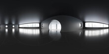 Full 360 Degree Panorama View Of Empty Dark Living Room Building Interior With Big Windows 3d Render Illustration Hdri Hdr Vr Style