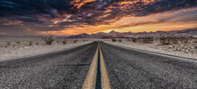 Route 66 In The Desert With Scenic Sky. Classic Vintage Image With Nobody In The Frame.