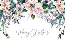 Watercolor Christmas Floral Frame Isolated On White