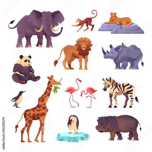 Naklejka premium Zoo Animals Set