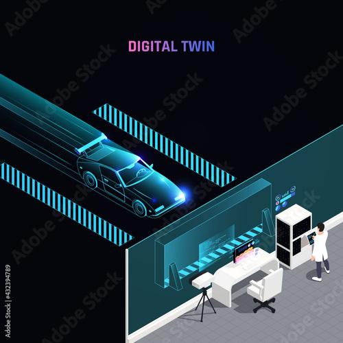 Digital Twin Technology Isometric Composition - fototapety na wymiar