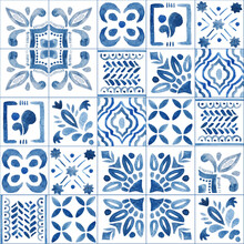 Hand Drawn Watercolor Seamless Pattern With Azulejo Traditional Portuguese Ornament In Blue Colors.