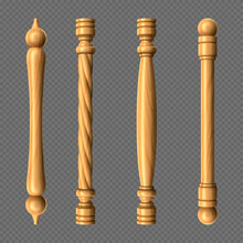 Wooden Door Handles Column Twisted Knobs Bar Shapes