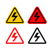 High Voltage Warning Triangular Icon. Lightning Bolt, Thunder Symbols Or Flash Pictogram. Electrocution Danger Illustration.