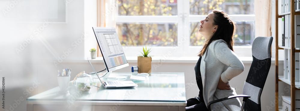 Leinwandbild Motiv - Andrey Popov : Bad Posture Sitting In Office With Backache