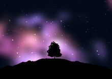 Tree Silhouetted Against A Starry Space Sky