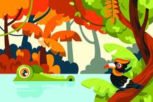 Jungle Illustration With Bird, River, Crocodile