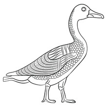 Goose Or Duck Bird In Profile. Black And White Linear Silhouette. Ancient Egyptian Animal Relief Design.