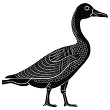 Goose Or Duck Bird In Profile. Black And White Silhouette. Ancient Egyptian Animal Relief Design.