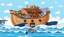 Animals On Noah's Ark Floating In The Ocean Scene
