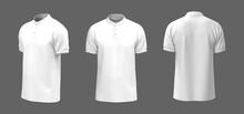 Blank Mandarin Collar T-shirt Mockup In Front, Side And Back Views, Tee Design Presentation For Print, 3d Rendering, 3d Illustration