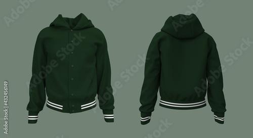 Obraz Hooded jacket mockup in front, side and back views. 3d illustration, 3d rendering - fototapety do salonu