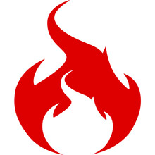 Illustration Of A Red Devil In A Fire