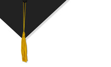 Mortarboard Graduation Cap On White With Space For A Message
