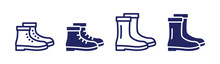 Collection Of Boots Footwear Icons