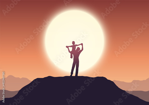 Fototapeta Fathers day background with dad and son in sunset landscape obraz