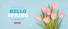Spring Sale Background With Realistic Tulips