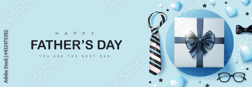 Fototapeta Happy Father's Day card with gift box for dad on blue background obraz