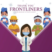 Thank You Frontliners For Keeping Us Safe And Well Banner Design. Vector Graphic Illustration.